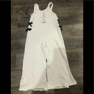 NWT Super Soft White Zara Girls Jumpsuit Size 9/10